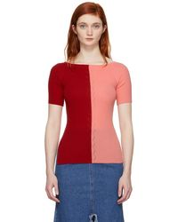 SJYP - Red And Pink Knit Off-the-shoulder Sweater - Lyst