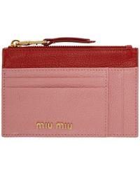 Miu Miu ピンク And レッド ツートーン ジップ カード ホルダー - マルチカラー