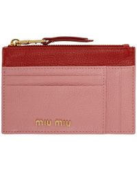 Miu Miu Pink And Red Two-tone Zip Card Holder - Multicolor