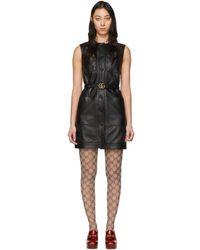 Gucci ブラック レザー ドレス