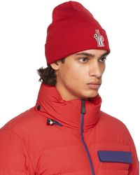 3 MONCLER GRENOBLE レッド ウール ロゴ ビーニー