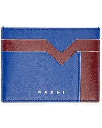 Marni ブルー & バーガンディ カード ケース
