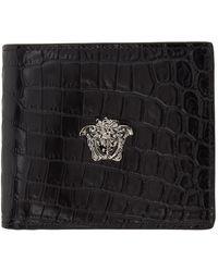 Versace ブラック & シルバー クロコ La Medusa ウォレット