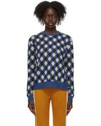 Wales Bonner Blue Argyle Williams Sweater