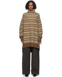 MM6 by Maison Martin Margiela ブラウン ストライプ ハイネック セーター ドレス