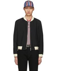 Thom Browne - Black Ribbed Zip-up Bomber Jacket - Lyst