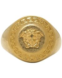 Versace - Gold Small Coin Ring - Lyst
