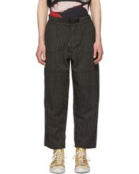 Enfants Riches Deprimes Black And White Striped Wool Japanese Railroad Trousers