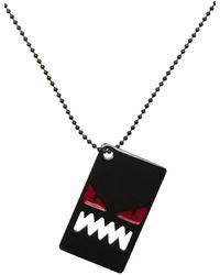 Fendi Black Bag Bugs Shiny Red Eyes Necklace - Multicolor