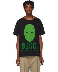 Gucci - ブラック And グリーン マニフェスト T シャツ - Lyst