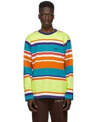 AWAKE NY Green Engineered Stripe Long Sleeve T-shirt - Multicolour
