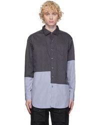 Engineered Garments ネイビー ビッグ ポルカドット シャツ - ブルー
