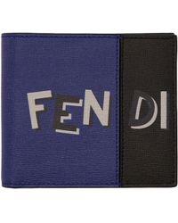 Fendi Portefeuille à logo noir et bleu