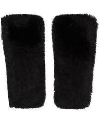 Yves Salomon | Black Cashmere & Fur Mittens | Lyst