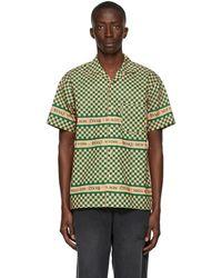 AWAKE NY Green & Beige Checkerboard Logo Short Sleeve Shirt