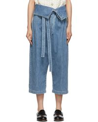 Loewe Blue Belted Pleated Jeans