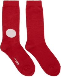 Blue Blue Japan - Red And Off-white Dot Socks - Lyst