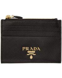 Prada - Black Saffiano Top Zipped Multi Card Holder - Lyst