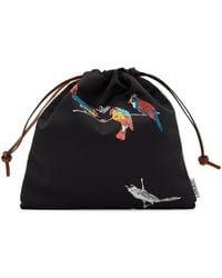 Loewe Paula's Ibiza コレクション ブラック & オフホワイト Parrot ドローストリング ポーチ