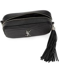 Saint Laurent Mini Lou Quilted Leather Camera Bag - Black