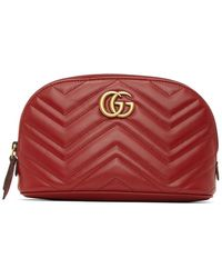 Gucci Red GG Marmont 2.0 Quilted Cosmetic Pouch