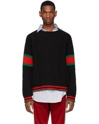 Gucci Cable Knit Web Sweater - Black