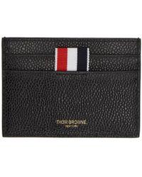 Thom Browne - Black Perforated Stripe Card Holder - Lyst