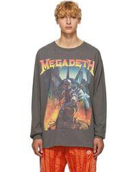 R13 ブラック Megadeth Fatalbot ロング スリーブ T シャツ