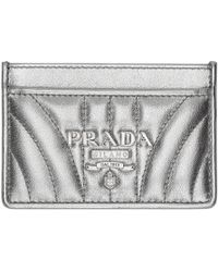 Prada - Silver Quilted Logo Card Holder - Lyst