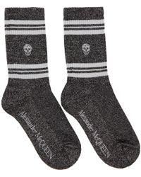 Alexander McQueen Black And Silver Glittered Stripe Skull Sport Socks