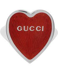 Gucci - シルバー & レッド Heart リング - Lyst