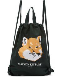 Maison Kitsuné Sac a dos vert Fox Head - Noir
