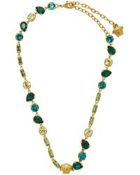 Versace Gold Crystal Medusa Mini Necklace - Green