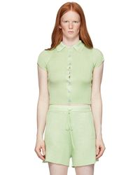 Calle Del Mar Green Ribbed Short Sleeve Shirt