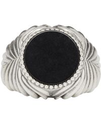 Emanuele Bicocchi - Silver And Black Stone Ring - Lyst