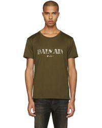 Balmain - Green Mylar Logo T-shirt - Lyst
