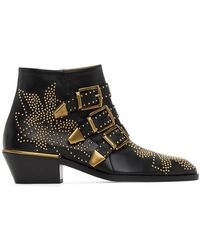 Chloé Black And Gold Susanna Boots