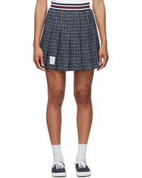 Thom Browne ブルー チェック スモール Hairline ミニスカート