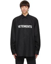 Vetements - ブラック Front ロゴ シャツ - Lyst