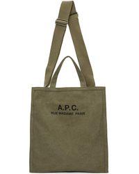 A.P.C. - カーキ Cabas Recuperation トート - Lyst