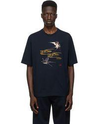 Dunhill Spring Swallows コレクション ネイビー T シャツ - ブルー