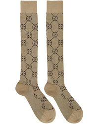Gucci Beige And Brown GG Supreme Socks - Natural