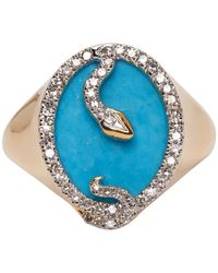 Adina Reyter Gold And Turquoise Oval Snake Signet Ring - Metallic