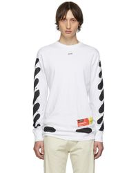 Off-White c/o Virgil Abloh Ssense Exclusive White Incomplete Spray Paint Long Sleeve T-shirt