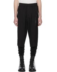 Julius - Black Nylon And Cotton Cropped Trousers - Lyst