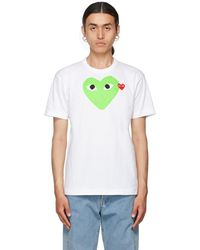 COMME DES GARÇONS PLAY ホワイト & グリーン Heart T シャツ