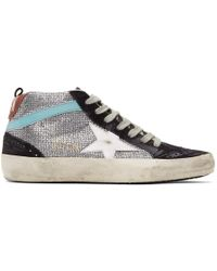 Golden Goose Deluxe Brand - Navy Suede Glitter Mid Star Trainers - Lyst