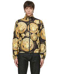 Versace ブラック & ゴールド Medusa トラック ジャケット - メタリック
