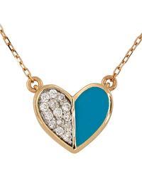Adina Reyter ゴールド & ブルー セラミック Pavé Folded Heart ネックレス - メタリック