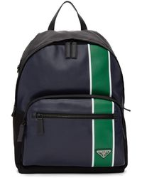 Prada Navy And Green Leather Backpack - Black